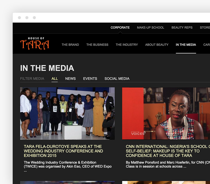 House of Tara Corporate website, media section houses a multimedia assortment of information