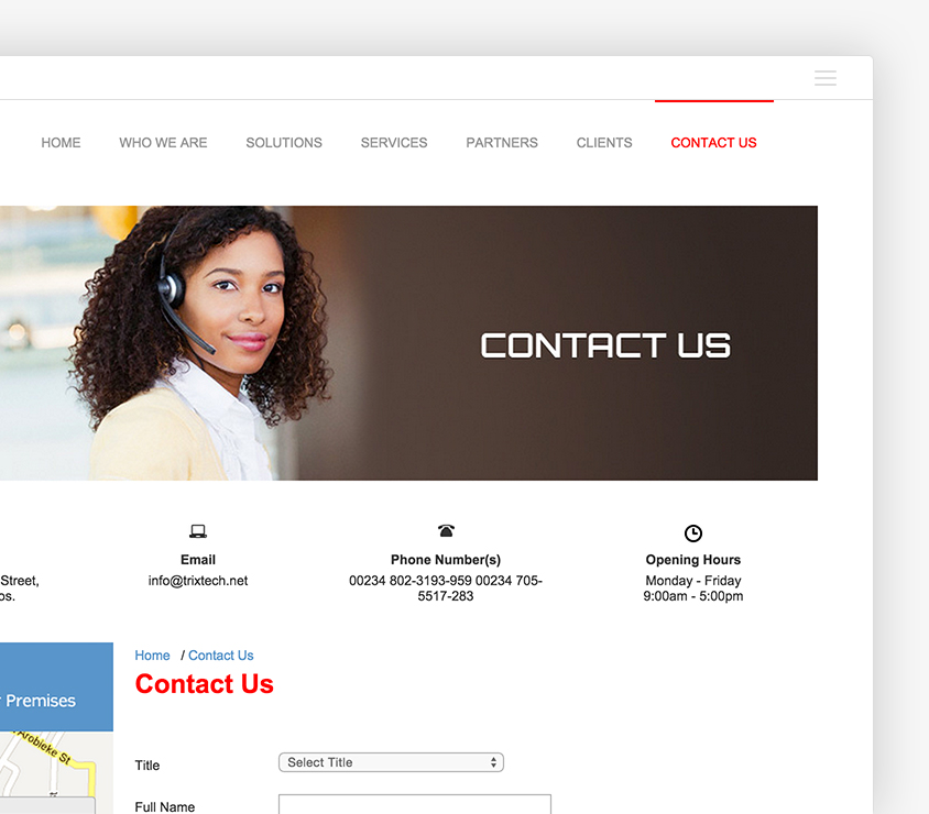 Trixtech website conveyed professionalism and conservativeness